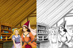 Cartoon scene in the old traditional kitchen - two women talking - beautiful manga girl - with coloring page - illustration Royalty Free Stock Photography