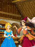 Cartoon scene in the old traditional kitchen - two women talking - beautiful princess and sorceress Stock Photography