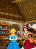 Cartoon scene in the old traditional kitchen - two women talking - beautiful princess and sorceress Stock Photos