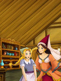 Cartoon scene in the old traditional kitchen - two women talking Royalty Free Stock Photos