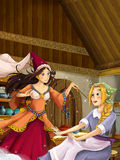 Cartoon scene in the old traditional kitchen - two women talking Royalty Free Stock Images