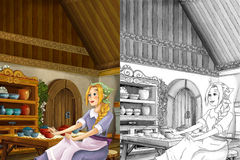 Cartoon scene in the old traditional kitchen - young dirty girl - cook or house help in it - beautiful manga girl. Happy and colorful traditional illustration Stock Photo