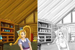 Cartoon scene in the old traditional kitchen - young dirty girl - cook or house help in it - beautiful manga girl Royalty Free Stock Photo