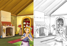 Cartoon scene in the old traditional kitchen - young dirty girl - cook or house help in it - beautiful manga girl. Happy and colorful traditional illustration Royalty Free Stock Photo