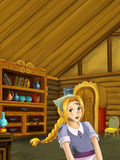 Cartoon scene in the old traditional kitchen - young dirty girl - cook or house help in it Royalty Free Stock Photography