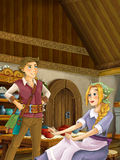 Cartoon scene in the old traditional kitchen - young girl working in kitchen - brother and sister or loving couple Royalty Free Stock Photos