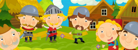 Cartoon scene in the old village - happy villagers altogether - background for different usage. Happy and funny traditional illustration for children - scene for stock illustration