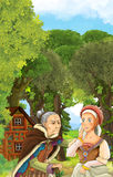 Cartoon scene of older woman talking to young woman - medieval times Royalty Free Stock Photography