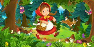 Cartoon Scene On A Happy Girl Walking Through The Forest Stock Image