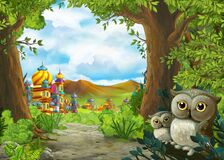 Cartoon scene with owls with beautiful castle near forest - illustration