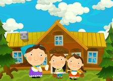 Cartoon scene with pair of kids in the grandma's house Royalty Free Stock Image
