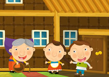 Cartoon scene with pair of kids in the grandma's house Royalty Free Stock Images