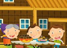 Cartoon scene with pair of kids in the grandma's house Stock Images