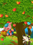 Cartoon scene of a pig on the apple tree and sneaky wolf below Stock Image
