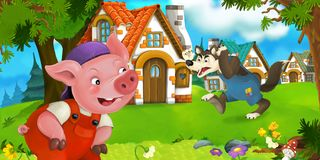 Cartoon scene pig farmer near traditional village and angry wolf is going in his direction Royalty Free Stock Photography