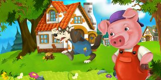 Cartoon scene pig farmer near traditional village and angry wolf is going in his direction Royalty Free Stock Photos