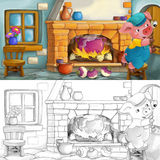Cartoon scene of a pig hiding inside the old house Royalty Free Stock Photo