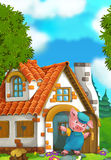Cartoon scene of a pig near the house Stock Photography