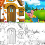 Cartoon scene of a pig near the house talking to wolf - with coloring page Stock Photos