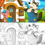 Cartoon scene of a pig near the house talking to wolf - with coloring page Royalty Free Stock Photos
