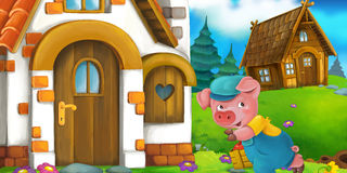 Cartoon scene of a pig near the house talking to wolf Stock Photos