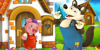 Cartoon scene of a pig near the house talking to wolf Royalty Free Stock Photos