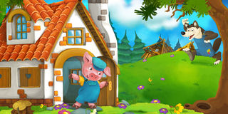 Cartoon scene of a pig near the house and wolf running to him Royalty Free Stock Photo