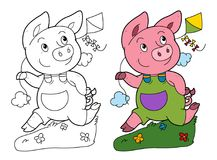 Cartoon scene with pig running and playing holding kite - on white background with coloring page Stock Photography