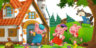 Cartoon scene with pigs escaping from wolf to a cottage. Happy and funny traditional illustration for children - scene for different usage Royalty Free Stock Photography