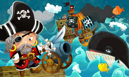 Cartoon scene with pirate captain - background Royalty Free Stock Photo