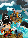 Cartoon scene with pirate captain - background Royalty Free Stock Image