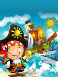 Cartoon scene with pirate captain - background Stock Photos