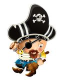 Cartoon scene with pirate man captain with sword on his back on white background vector illustration