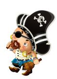 Cartoon scene with pirate man captain with sword on his back on white background. Illustration for children stock illustration