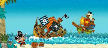Cartoon scene with pirates on the sea battle - illustration