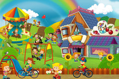 Cartoon scene of playground and kids in front of a colorful building Stock Image