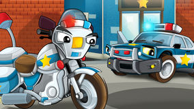 Cartoon scene of police officers talking - car and motorbike Stock Image