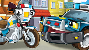 Cartoon scene of police officers talking - car and motorbike Royalty Free Stock Photos