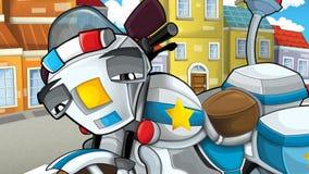 Cartoon scene of police pursuit Stock Image