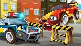 Cartoon scene of police pursuit Royalty Free Stock Photos