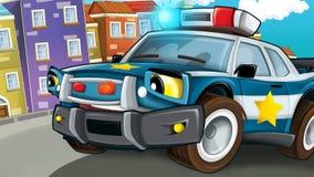 Cartoon scene of police pursuit - policeman car Stock Image