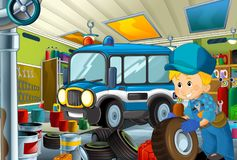 Cartoon scene with policeman in some garage - working repearing police car or clearing work place. Illustration for children royalty free illustration