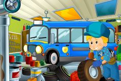 Cartoon scene with policeman in some garage - working repearing police car or clearing work place. Illustration for children stock illustration