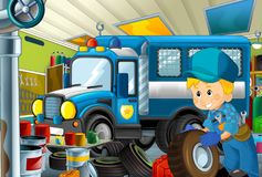 Cartoon scene with policeman in some garage - working repearing police car or clearing work place. Illustration for children vector illustration