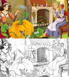 Cartoon scene with poor girl and princess sorceress - with coloring page Royalty Free Stock Images