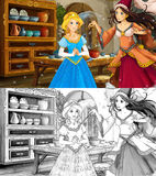 Cartoon scene with poor girl and princess sorceress - with coloring page Stock Images