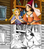 Cartoon scene with poor girl and princess sorceress - with coloring page Royalty Free Stock Photos