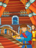 Cartoon scene with prince finding golden shoe on the stairs Stock Photos