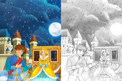 Cartoon scene with prince and princess - beautiful castle and carriage in the background - beautiful manga girl Royalty Free Stock Photo