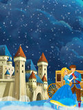 Cartoon scene with prince and princess - beautiful castle and carriage in the background Royalty Free Stock Photos